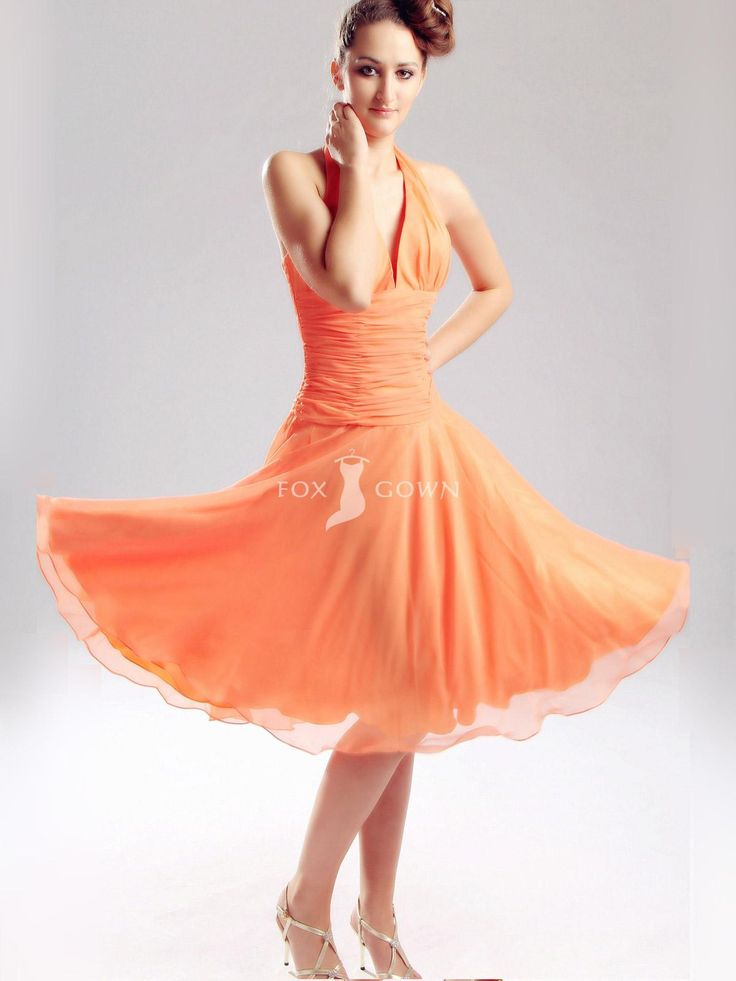 orange halter knee-length short party dress with empire waistline