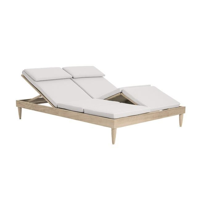 Classic Double Armless Chaise Teak Frame Chaise Spa Furniture