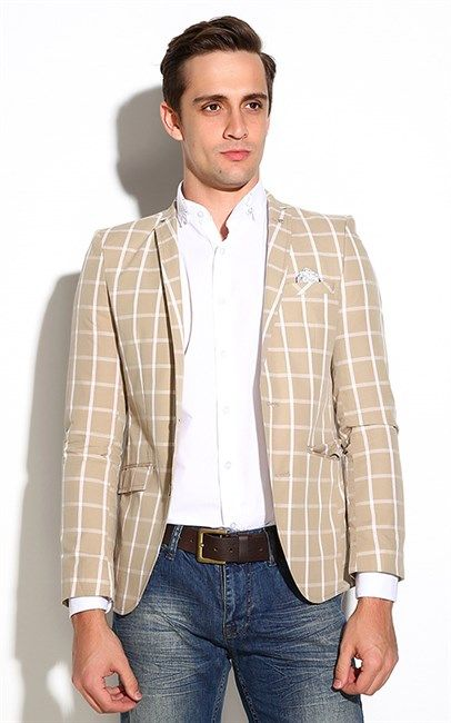 FC Plus   Checked Blazer in Beige