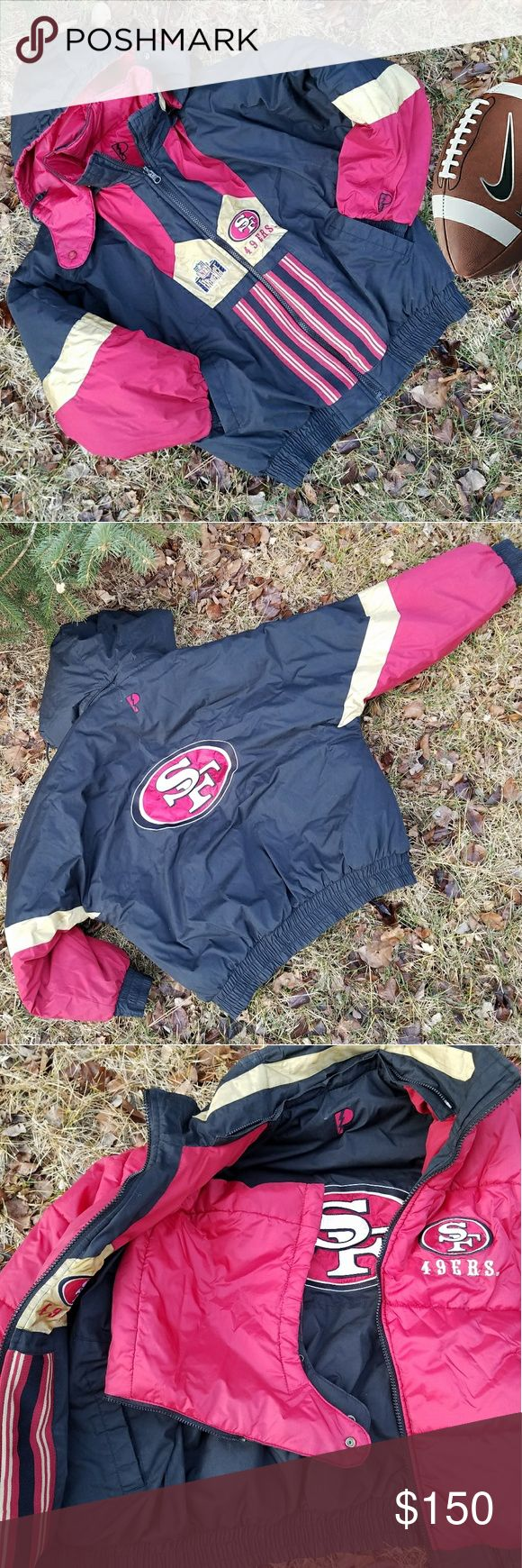 Vintage 90's 49ers double sided puffer jacket Double sided vintage 49ers Jacket, NFL EXPERIENCE. The black side features gold and maroon colors SF logo on the back. The other side is all maroon 49ERS logo. It comes with the original hoodie and is removable with a zipper. This jacket is in exelent condition!!! Jackets & Coats Puffers