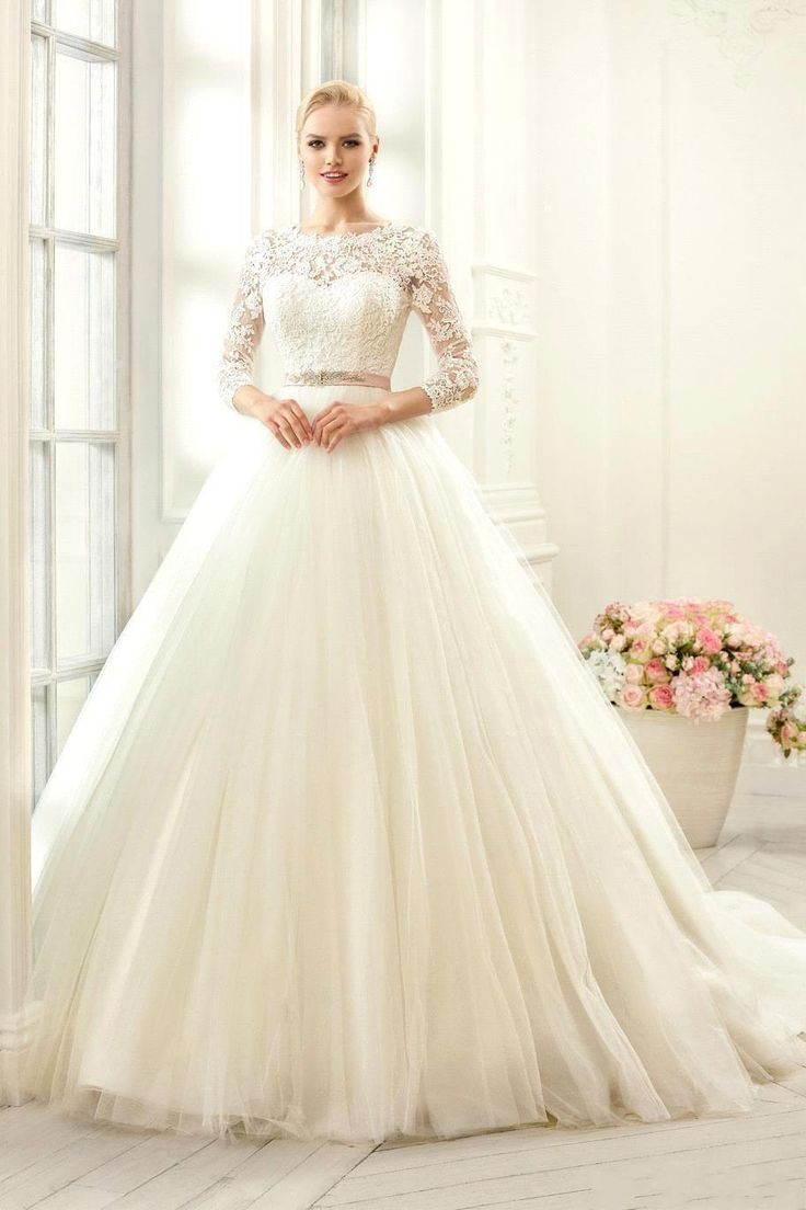 2016 New Lace Long Sleeves Wedding Dresses A Line Wedding Gowns Sleeves Tulle Appliques Beaded Sash Backless Bridal Gowns Plus Size J118 Online with $181.16/Piece on Caradress's Store | DHgate.com