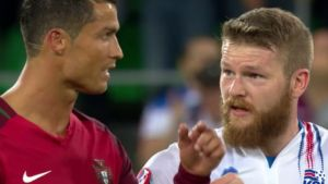 Iceland captain Aron Gunnarsson clears up the Cristiano Ronaldo shirt swap situation