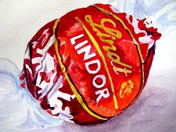 Lindt Chocolate - Food Art Original Watercolor - Aoi's art