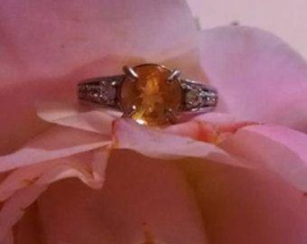 Venta de separación oro amarillo citrino y blanco circón solitario hermoso anillo de compromiso tamaño 5 anillo plata esterlina declaración para ella
