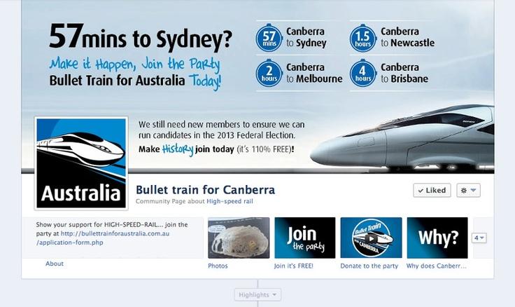 Bullet Train For Canberra - www.bullettrainforcanberra.com.au  like Bullet Train For Canberra on Facebook - Social Media