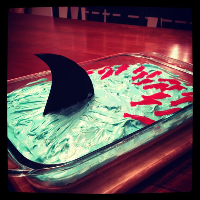 So cute!  What an easy cake for a kid that loves sharks!!!