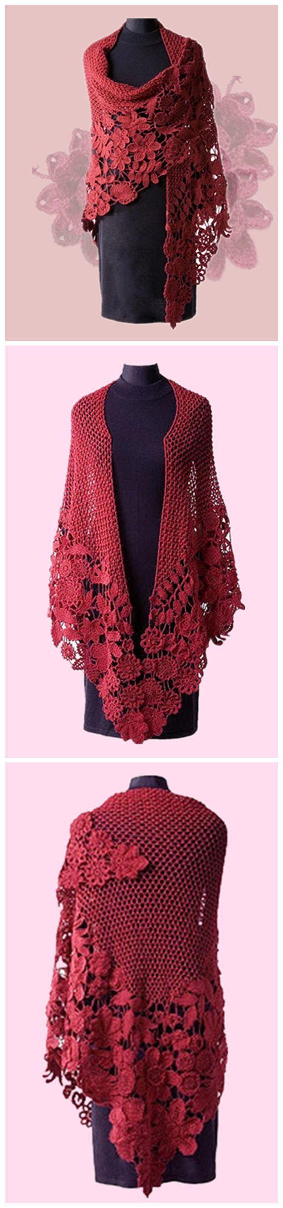 Elegant long crocheted shawl.