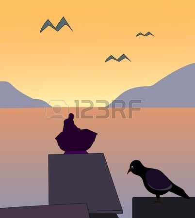 Sunset with a small boat and a bird sitting by the sea  Stock Photo