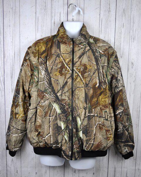 Remington Reversible Coat Jacket Real Tree Camouflage Hunting Camo Mens Size L