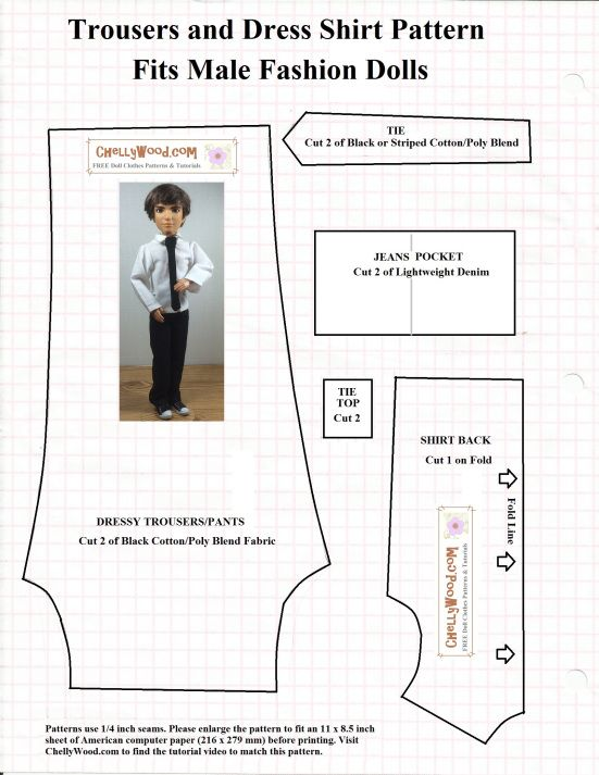 Free printable sewing pattern and tutorial for making Ken dolls and other male fashion dolls a miniature tie. ChellyWood.com