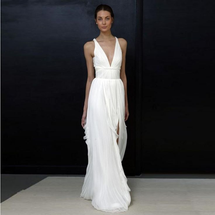 2017 Sheath Wedding Dresses for Greek Goddess Simple Brides Wear Cheap Long Pleated Split Bohemian Boho Bridal Dress Beach