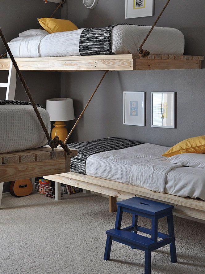 beliches + cordas #decor #quartos #bedrooms