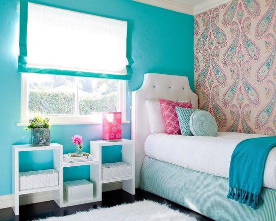 Retro Tapeten T?rkis-Braun : Girls Bedroom Ideas Blue Walls