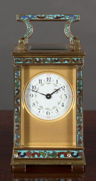 French Carriage Clock with Champleve Decoration