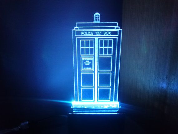 Police Box Dr Who colour changing LED desk / bedside by CraftyPics
