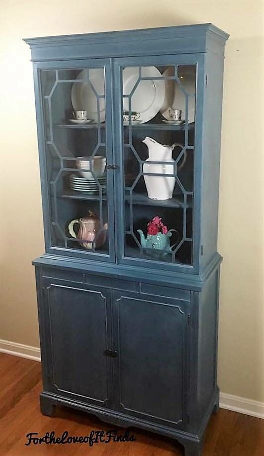 sold custom painted small china cabinet