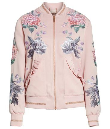 75b8acc9c0ff2 palace gardens ruffled bomber jacket by Ted Baker. A sporty bomber is  elevated to statement-making status with fine-art floral embroidery