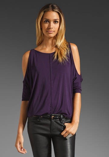 MICHAEL STARS Jersey Lycra Cold Shoulder Top in Gypsy at Revolve Clothing - Free Shipping!