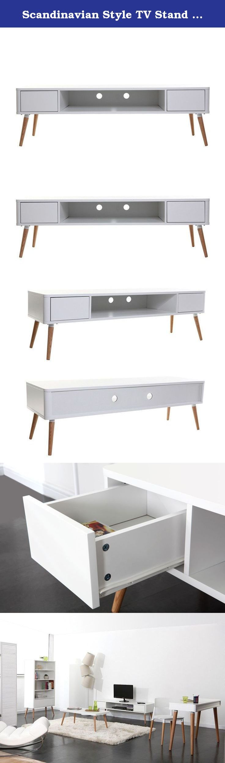 Scandinavian Style TV Stand TOTEM. Discover the TOTEM collection with this TV stand, reminiscent of mid-century modern style. The clean lines of this Miliboo-exclusive TV stand bring a retro touch to any interior. It is also very practical, with an open shelf and two drawers to maximize storage space. With its MDF structure and oak legs, it is a durable and lasting piece of furniture. Cleaning instructions: wipe down with a soft, dry cloth. Warning: using a rough cloth or an abrasive…