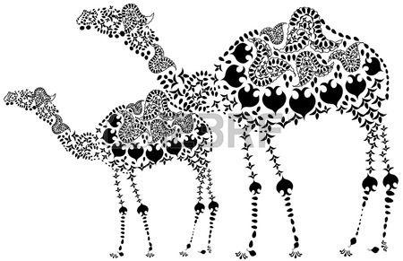 Due design modellato il cammello nero in stile etnico Archivio Fotografico