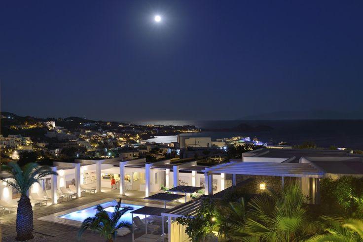 Under the moon... Mykonos Bar | Pool bar Palladium hotel  http://www.hotelpalladium.gr/