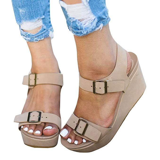 37ae672824 Seraih Womens Flatform Sandals Wedge Surf Ankle Strap Buckle Shoes Summer  Sandal