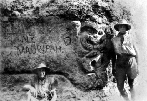 An Anzac trench at Gallipoli with a Maori carving.