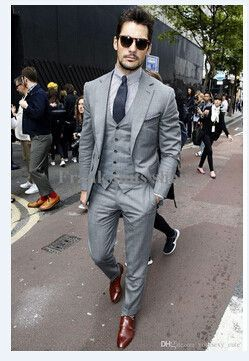Mens Light Grey Suits Jacket Pants Formal Dress Men Suit Set men wedding suits groom tuxedos(jacket+pants+vest+tie))