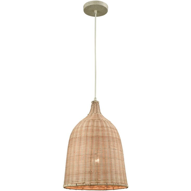 elk lighting 316431 pleasant fields 12 natural wicker pendant in russet beige - Fantastisch Kochinseln
