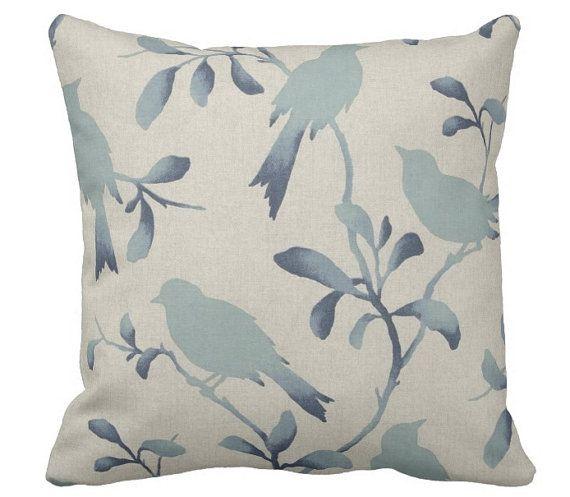 almohadas de pájaro azul cojines de sofá cojines