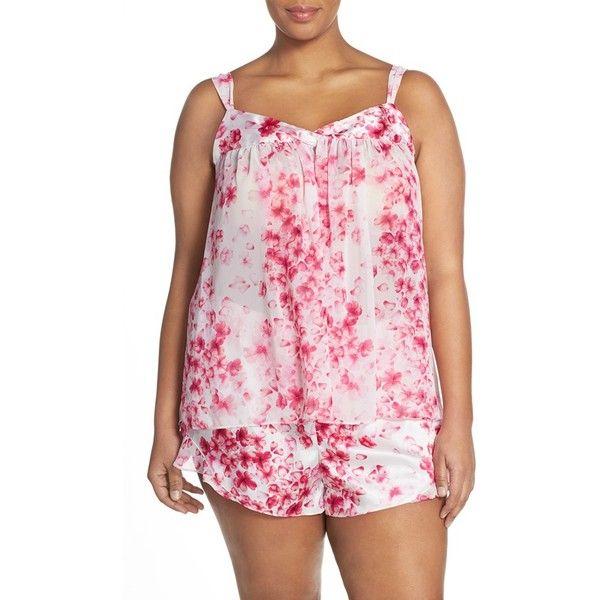 Oscar de la Renta Sleepwear Camisole & Short Pajamas (8975 RSD) ❤ liked on Polyvore featuring plus size women's fashion, plus size clothing, plus size intimates, plus size sleepwear, plus size pajamas, pink print, plus size, print cami, plus size pjs and pink cami
