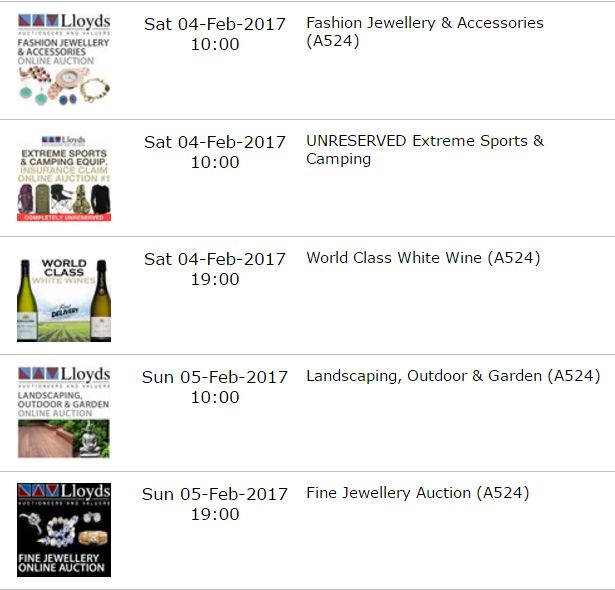 Click here: http://www.lloydsonline.com.au/AuctionList.aspx?pgn=1&pgs=100 to see what's coming up at Lloyds Auctions