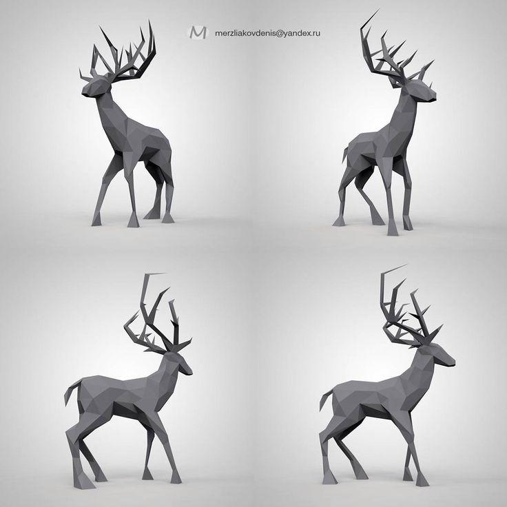 10 отметок «Нравится», 1 комментариев — мерзляков (@denismerzliakov) в Instagram: «#deer #moose #animal #animals #3dmodel #3d #model #lowpoly #art #cartoon #character #cinema4d…»