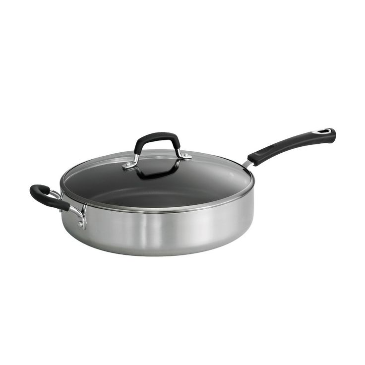 Tramontina Style Polished Aluminum (Silver) 5.5qt Covered Saute Pan