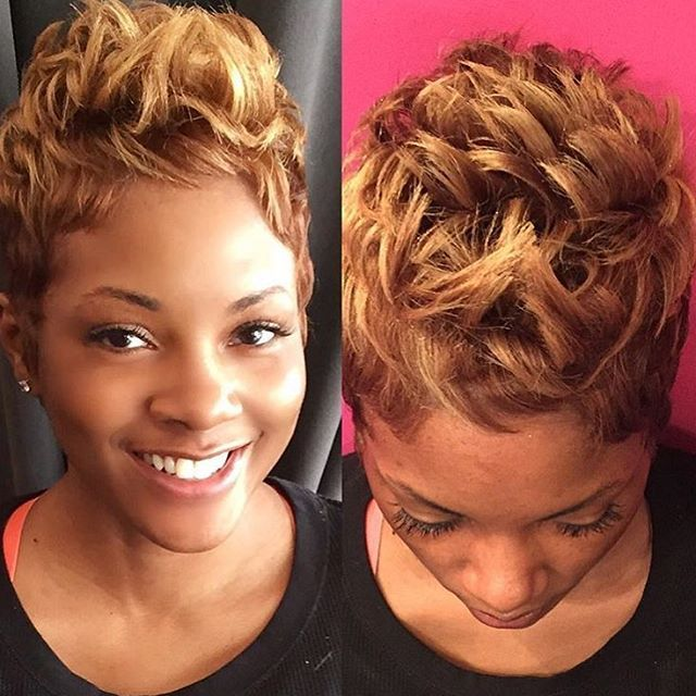 STYLIST FEATURE  Love the color on this #pixie styled by #chicagostylist @stylesbykim__ Classic #voiceofhair