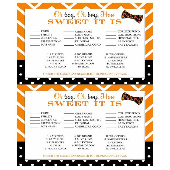 Halloween Baby Shower Game How Sweet It Is Bow By PaperCleverParty