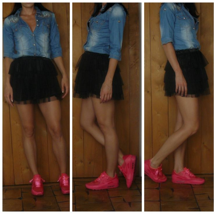 Tulle Skirt, Jeans Shirt, Denim Shirt, Neon AirMax