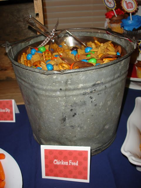 chicken 'feed' (chex mix and m's) for farm party