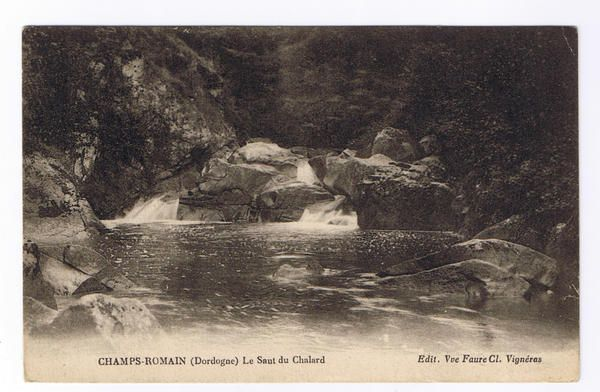 "Old postal card of ""le Saut du Chalard"" in Champs Romain"
