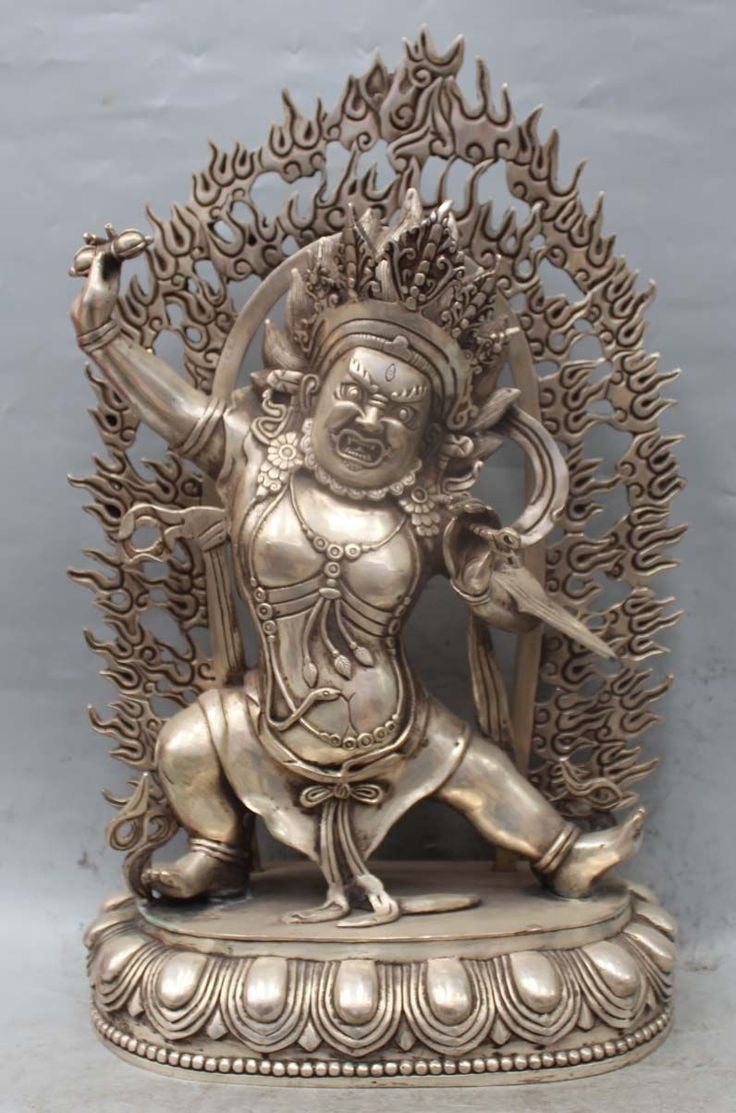 "004154 20"" Tibet Buddhism Silver Fane Vajrapani Mahakala Wrathful Deity Buddha Statue #Affiliate"