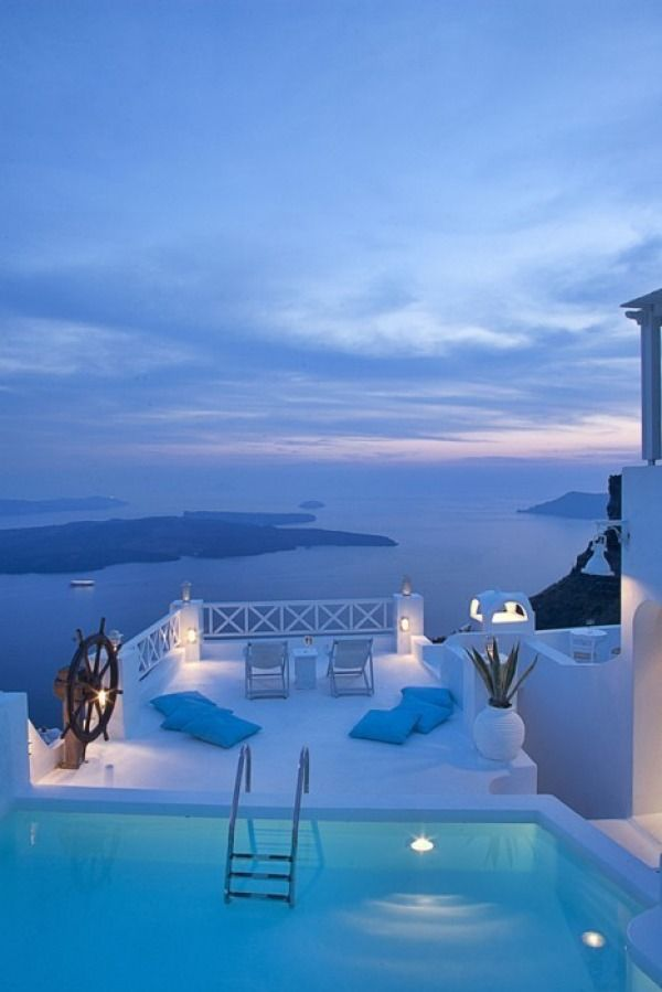 gorgeous view of Sunset --dinner with soul mate and a glass of wine..heavenly!! Santorini, Greece