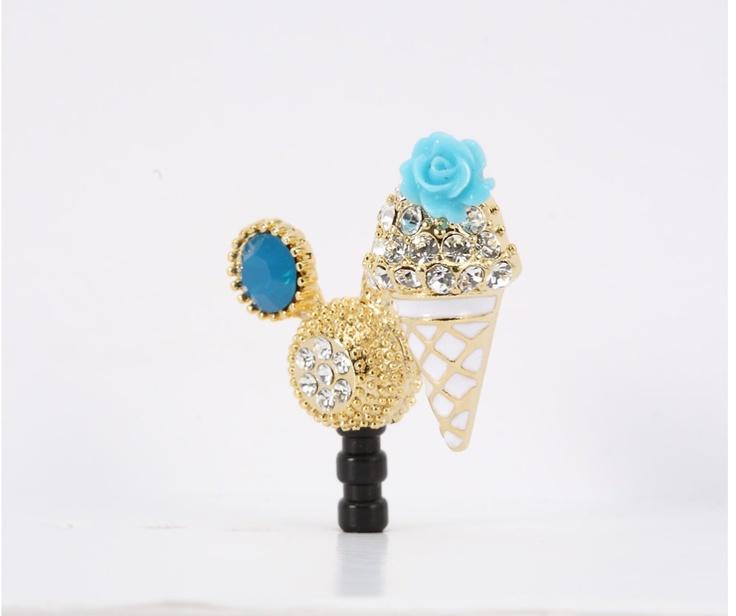 Skyblue tiny flower Icecream Phone Ear Cap. Price $19.99  / 하늘색 아이스크림 폰캡