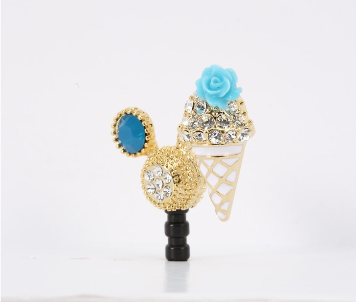 Skyblue tiny flower Icecream Phone Ear Cap. Price $19.99  / 하늘색 아이스크림 폰캡