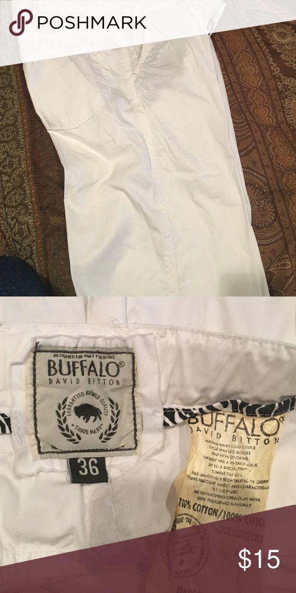 Men's long shorts Great white cotton men's long shorts ! Looks great in summer ! Great condition! Make offer Buffalo David Bitton Shorts Flat Front