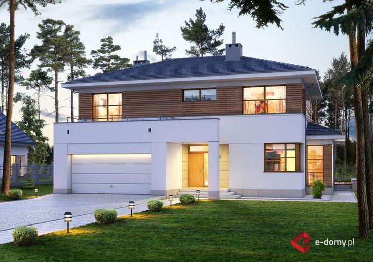 E-122 Dom z tarasem na piętrze, rezydencja - E-DOMY.pl Projekty domów jednorodzinnych, piętrowych, energooszczędnych.