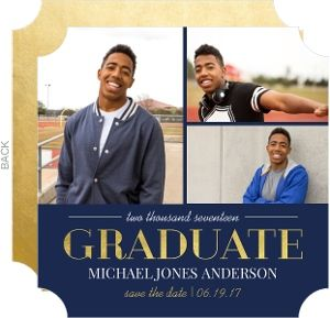 Gold and Navy Graduation Announcement