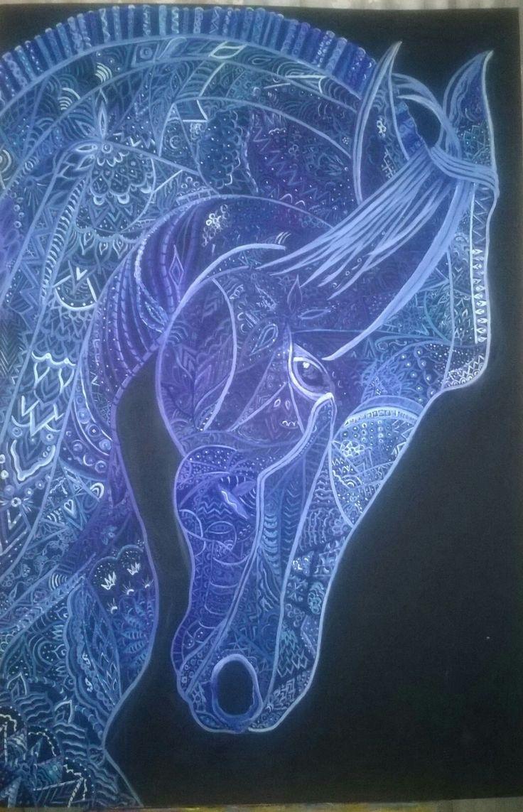 Mavi ruhun mavi atı, 80x100 akrilik çalışmam zentangle,horse,tablo,canvas,mandala tablo, zentangle tablo,tuval  tablo