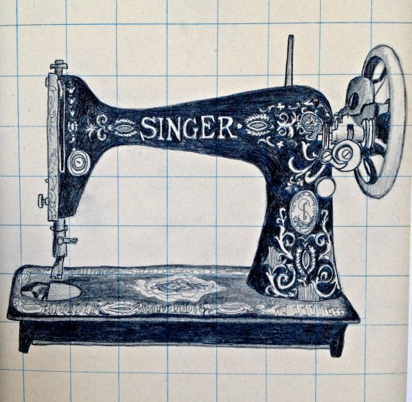 Rauschenberg Erases - pencil sketch #singer sewing machine