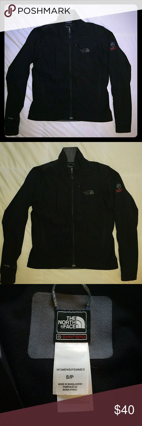Small black North face jacket Summit series, black, North face coat. Hard exterior, fleece lining. One small hole inside left pocket. North face logo has fading as pictured. I LOVE this jacket, but will part with for the right offer. The North Face Jackets & Coats