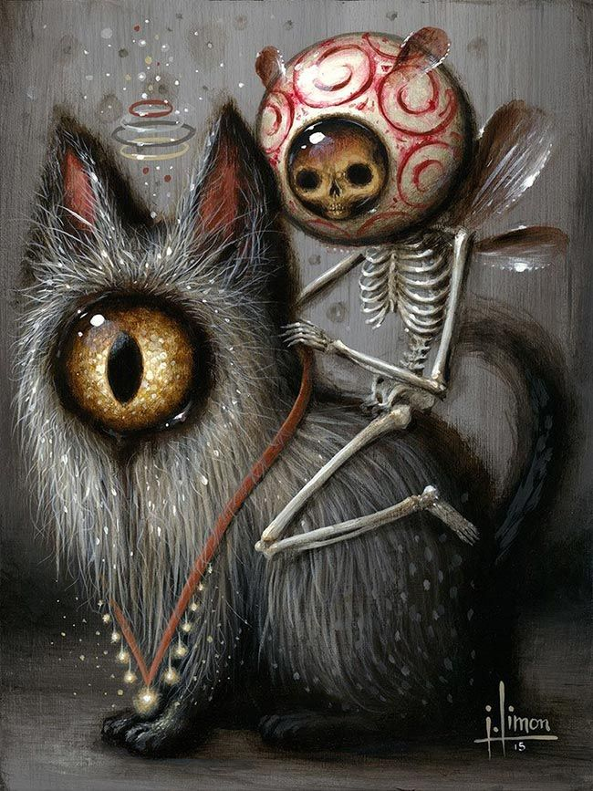'Faulty Feline IV' by @jasonlimon. Find out more about Jason and see more of his wonderful art at wowxwow.com (narrative, creatures, character design, mystery, skull, skeleton, cat, surreal, pop surrealism)